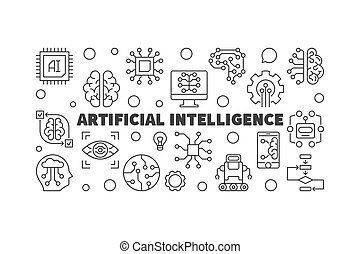 Artificial Intelligence horizontal outline vector...