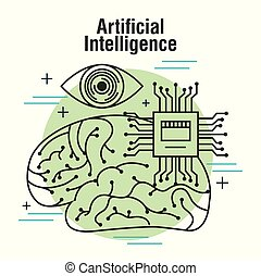artificial intelligence human brain vision and motherboard