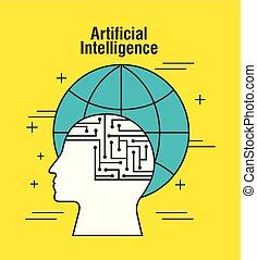 artificial intelligence human head profile global world