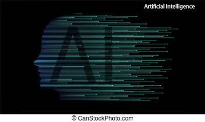 Artificial Intelligence Human Head Shape Technology, art ...