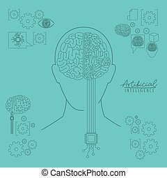 artificial intelligence human head silhouette front view with hybrid brain over light blue background