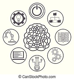 Artificial intelligence icons icon vector illustration ...