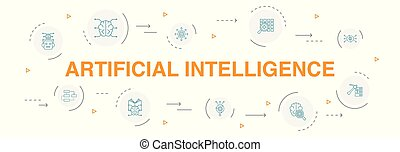 Artificial Intelligence Infographic 10 steps circle design. Machine learning, Algorithm, Deep learning, Neural network simple icons