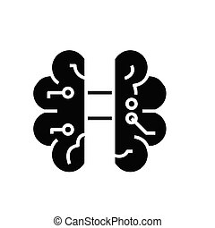 Artificial intelligence microchip black icon, concept illustration, vector flat symbol, glyph sign.