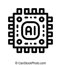 Artificial Intelligence Microchip Vector Sign Icon Thin Line. Artificial Intelligence Main Chip Processor Linear Pictogram. Technology Support, Cyborg, Internet System Contour Illustration