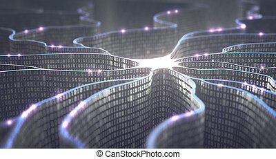 Artificial neuron in concept of artificial intelligence. Wall-shaped binary codes make transmission lines of pulses and/or information in an analogy to a microchip. Neural network and data transmission.