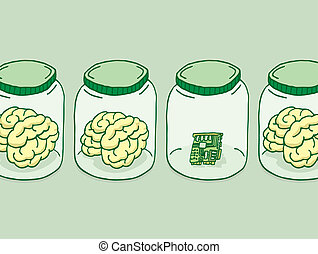Cartoon illustration of artificial intelligence besides brains in jars