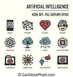Artificial Intelligence, pixel perfect fill outline icon, ...