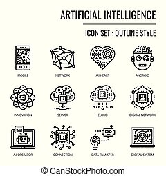 Artificial Intelligence, pixel perfect outline icon, ...