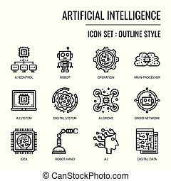 Artificial Intelligence, pixel perfect outline icon,...