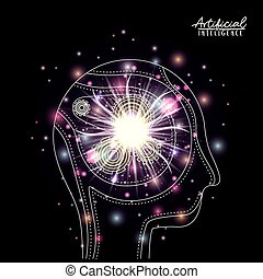 artificial intelligence poster human head silhouette side view with cogwheels mechanism in transparency over black background with colorful sparkles