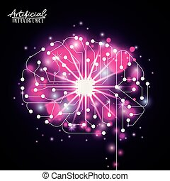 artificial intelligence poster with electronic circuit shape of brain in transparency over black background with sparkles