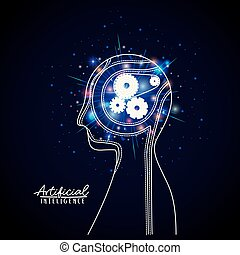 artificial intelligence poster with half body human silhouette with cogwheels mechanism brain in transparency over dark blue background with sparkles