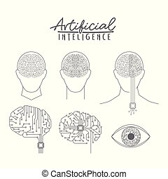 artificial intelligence poster with human and hybrid brains...