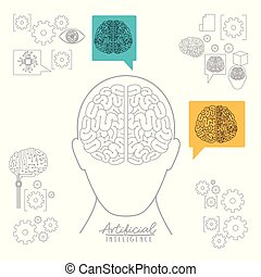 artificial intelligence poster with human head silhouette front view with brain over white background