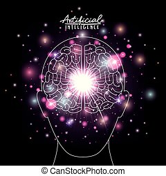 artificial intelligence poster with human head silhouette with brain in transparency over black background with sparkles in purple