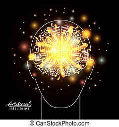 artificial intelligence poster with human head silhouette with brain in transparency over black background with yellow sparkles