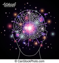 artificial intelligence poster with human head silhouette with brain in transparency over black background with sparkles