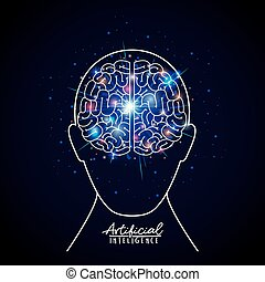 artificial intelligence poster with human head silhouette with brain in transparency over dark blue background with sparkles