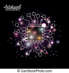 artificial intelligence poster with microprocessor unit circuit brain in transparency over black background with sparkles in purple