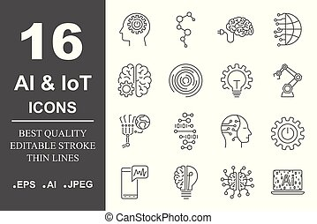 Artificial Intelligence Related Vector Icon AI, IoT, robot, chipping, setting. Editable Stroke EPS 10