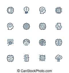 Artificial Intelligence Related Vector: Icon AI, robot, chipping, setting Editable Stroke