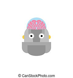 Artificial Intelligence. Robot and brain. cyborg head