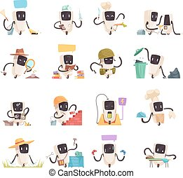 Artificial Intelligence Robots Icons Set