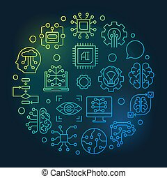 Artificial Intelligence round vector colored line...