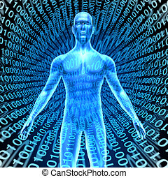 Artificial intelligence showing a human in Cyberspace with digital binary code background representing the high tech computing technology that thinks and has brain function like man like talking robot smart phones and computers.