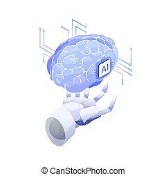 Artificial intelligence, smart robot, conscious machine, innovative technology, hi tech innovation, scientific research in cybernetics. Robotic hand holding AI brain. Modern vector illustration.