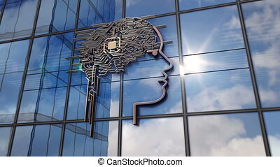 Artificial intelligence symbol on glass mirrored building