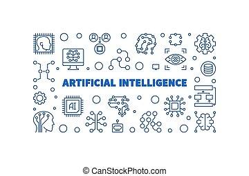 Artificial Intelligence vector blue linear horizontal illustration