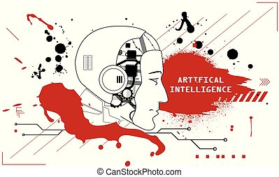 Artificial Intelligence Vector Illustration. Flat and grunge...