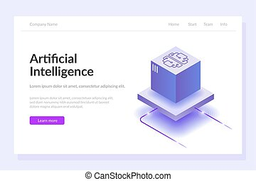 Artificial intelligence web template. The process of data processing. Large computing power. Developments in modern technologies