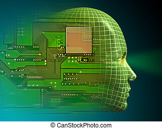Wireframe head and printed circuit. Digital illustration