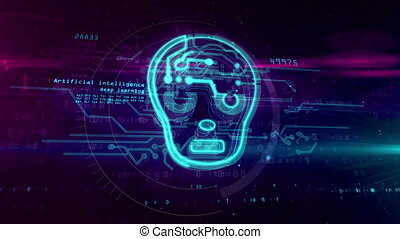 Artificial intelligence with cyber face symbol - Artificial...