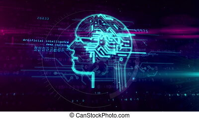 Artificial intelligence with cyber head symbol