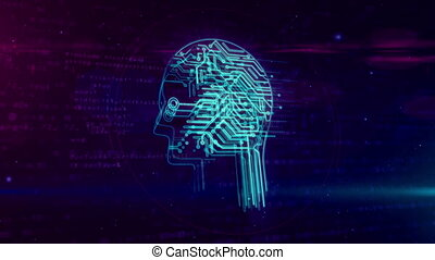 Artificial intelligence with cyber head symbol loop -...