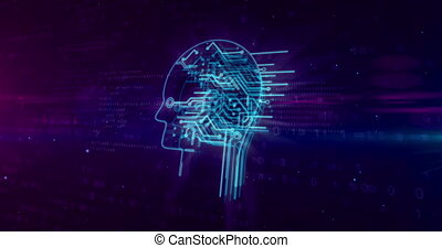 Artificial intelligence with cyber head symbol on digital...