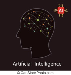 Artificial intelligence with human concept. Dot circuit board brain logo icon