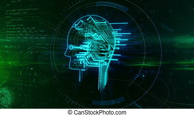 Artificial intelligence with retro cyber head symbol -...