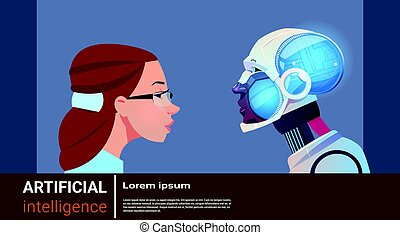 Artificial Intelligence Woman With Modern Robot Brain Technology