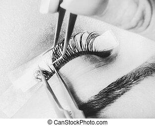 Artificial lashes. eyelash extension procedure