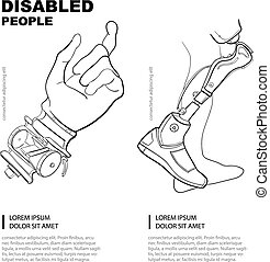 Artificial limb. Hand and foot. Template for the page of the magazine with vector picture. Linear pictures.