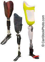 artificial limbs under the white background - artificial...