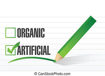 artificial over organic check mark illustration design over ...
