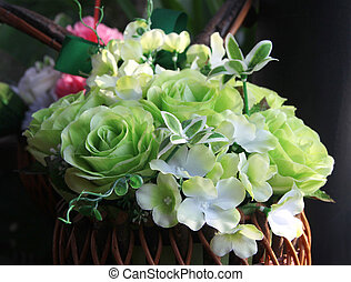 Artificial panicle in basket - Green artificial panicle in...