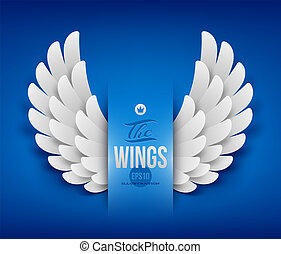 Artificial paper wings - vector illustration