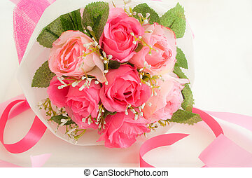 roses bouquet - artificial pink roses bouquet